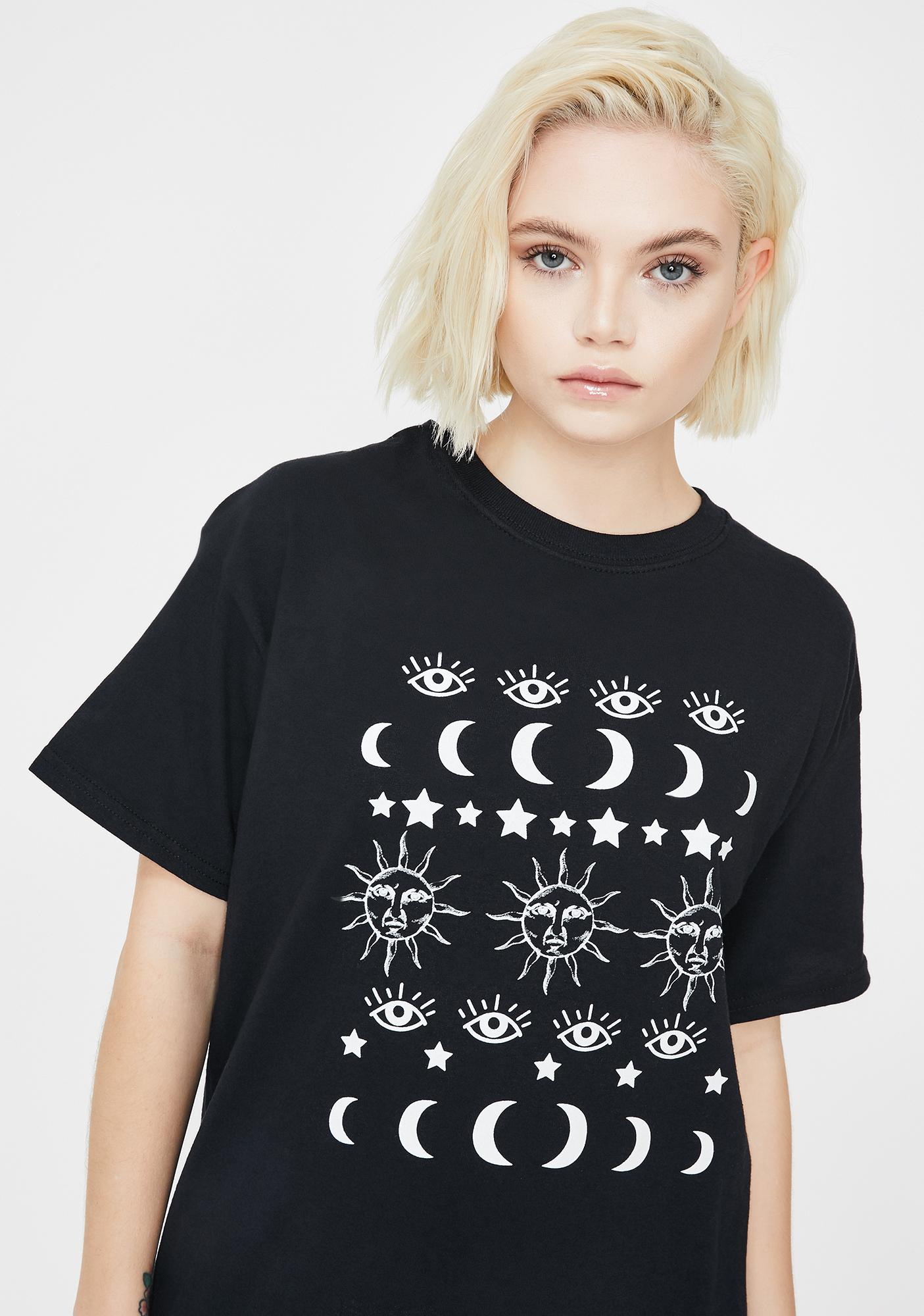 Daisy Street Black Astrology Graphic Tee