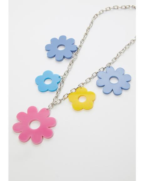 Good Vibes Only Flower Chain Necklace