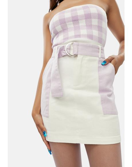 Soothe The Soul Color Block Mini Skirt