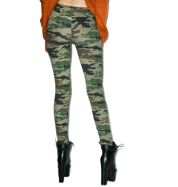 Plush Camo Fleece Lined Leggings