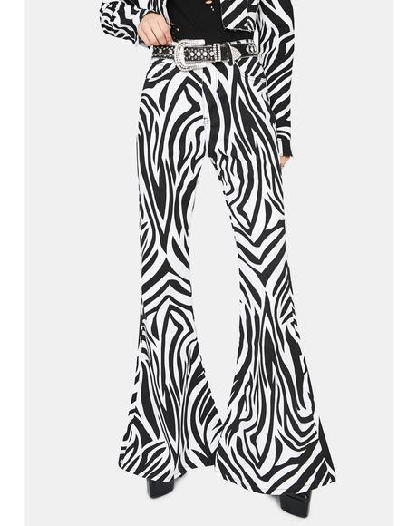 Free To Roam Zebra Print Flare Jeans