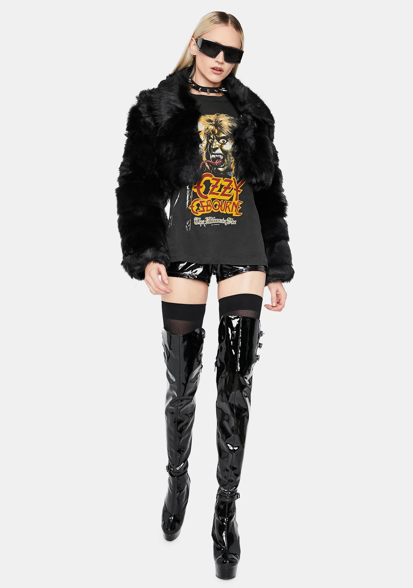 Noir Sophisticated Funk Faux Fur Jacket