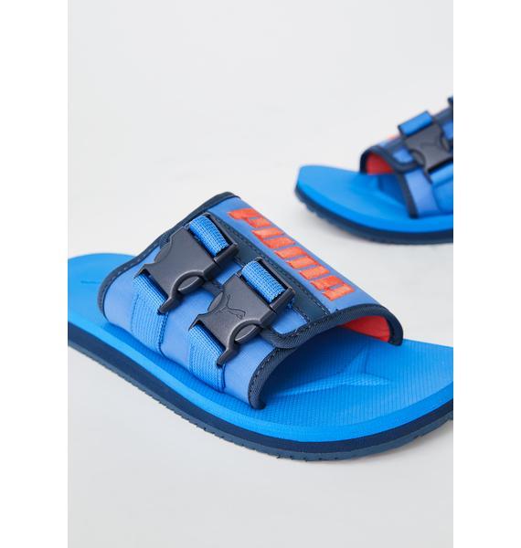 PUMA Blue Wilo Lux Nylon Slides