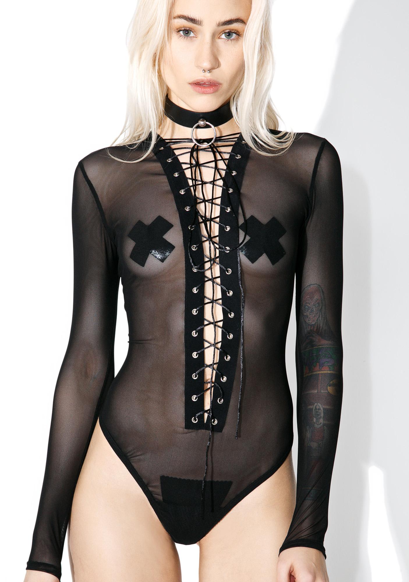 Black Sheer Long Sleeve Lace Up Bodysuit