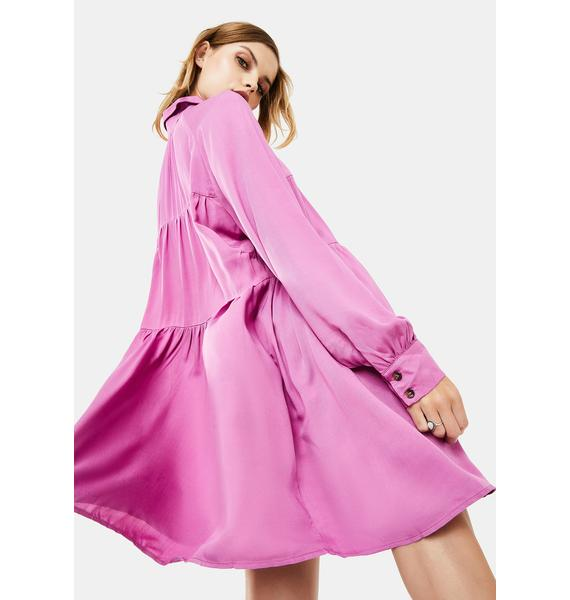 Glamorous Orchid Long Sleeve Shirt Dress