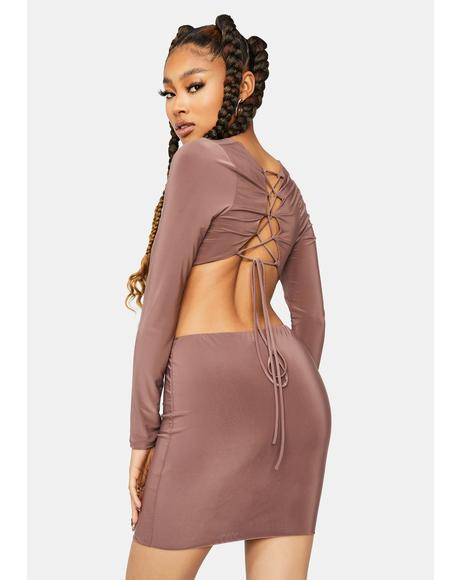Last Chance Front Twist Cutout Dress