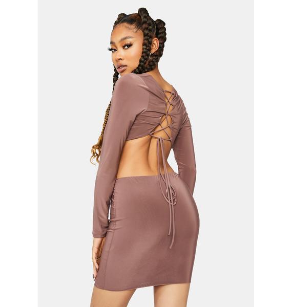 Last Chance Front Twist Cutout Dress