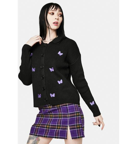Daisy Street Carlie Embroidered Butterfly Cardigan