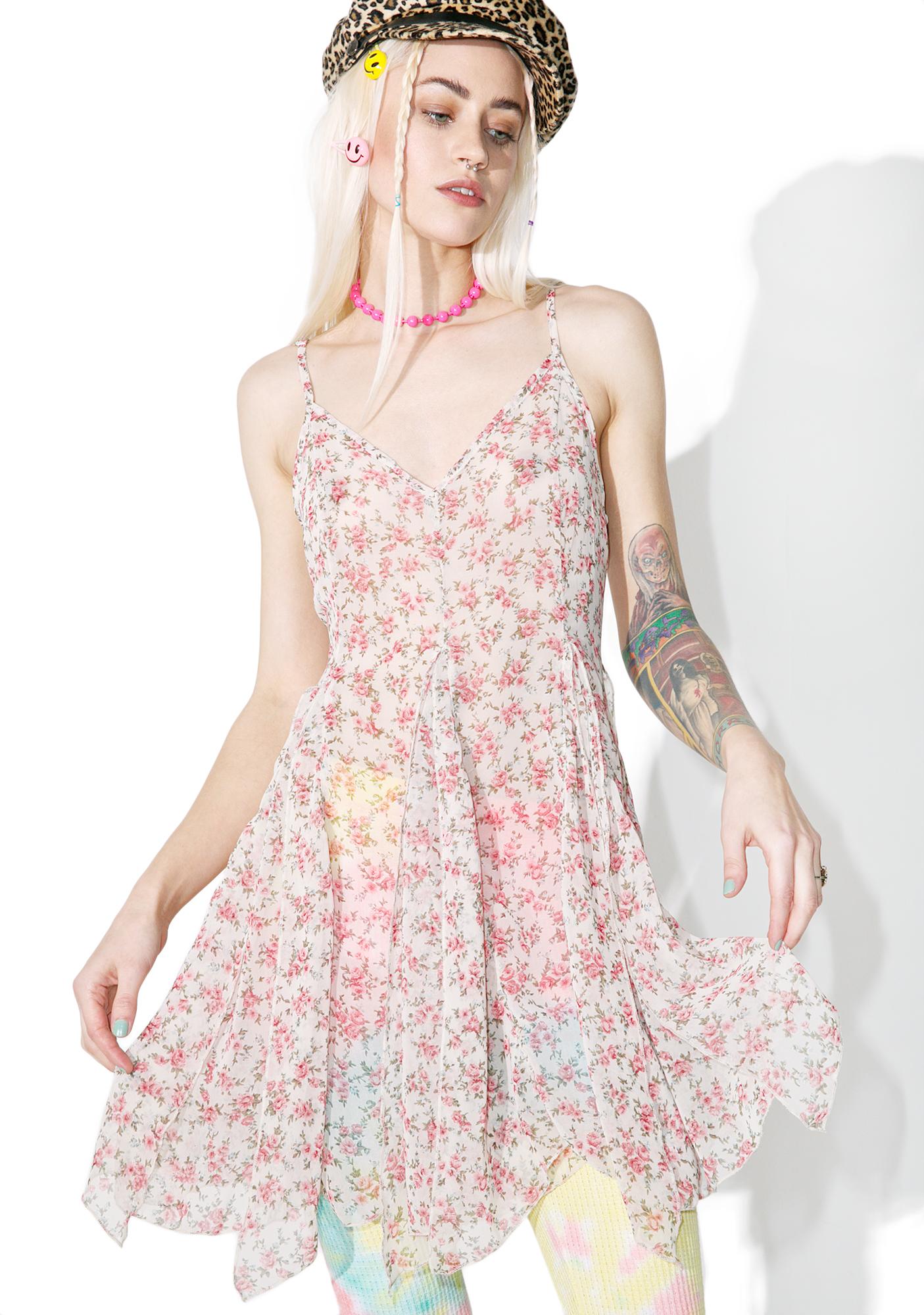 Sheer Floral White Slip Dress