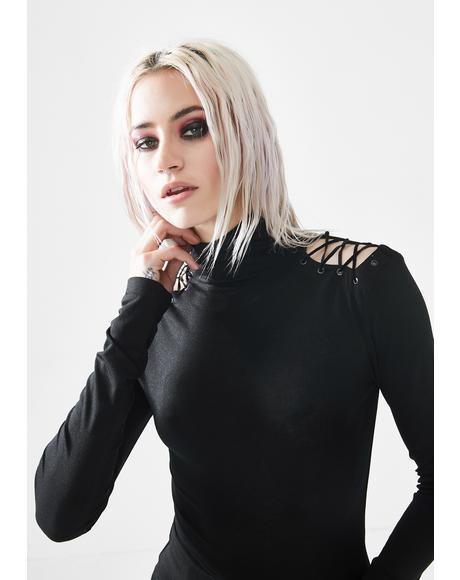 Lace Up Turtleneck Top