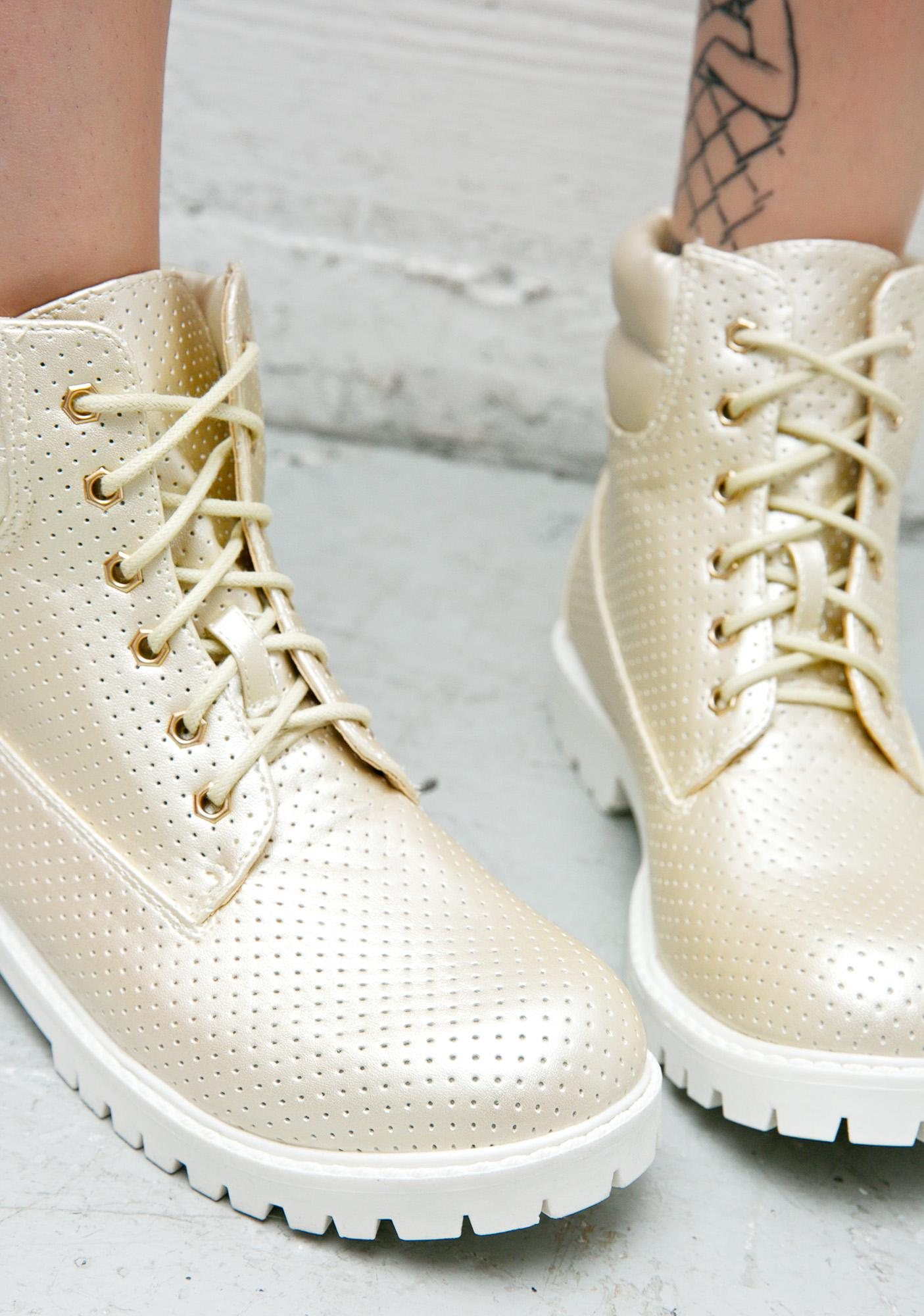 Gilded Gold Perforated Work Boots