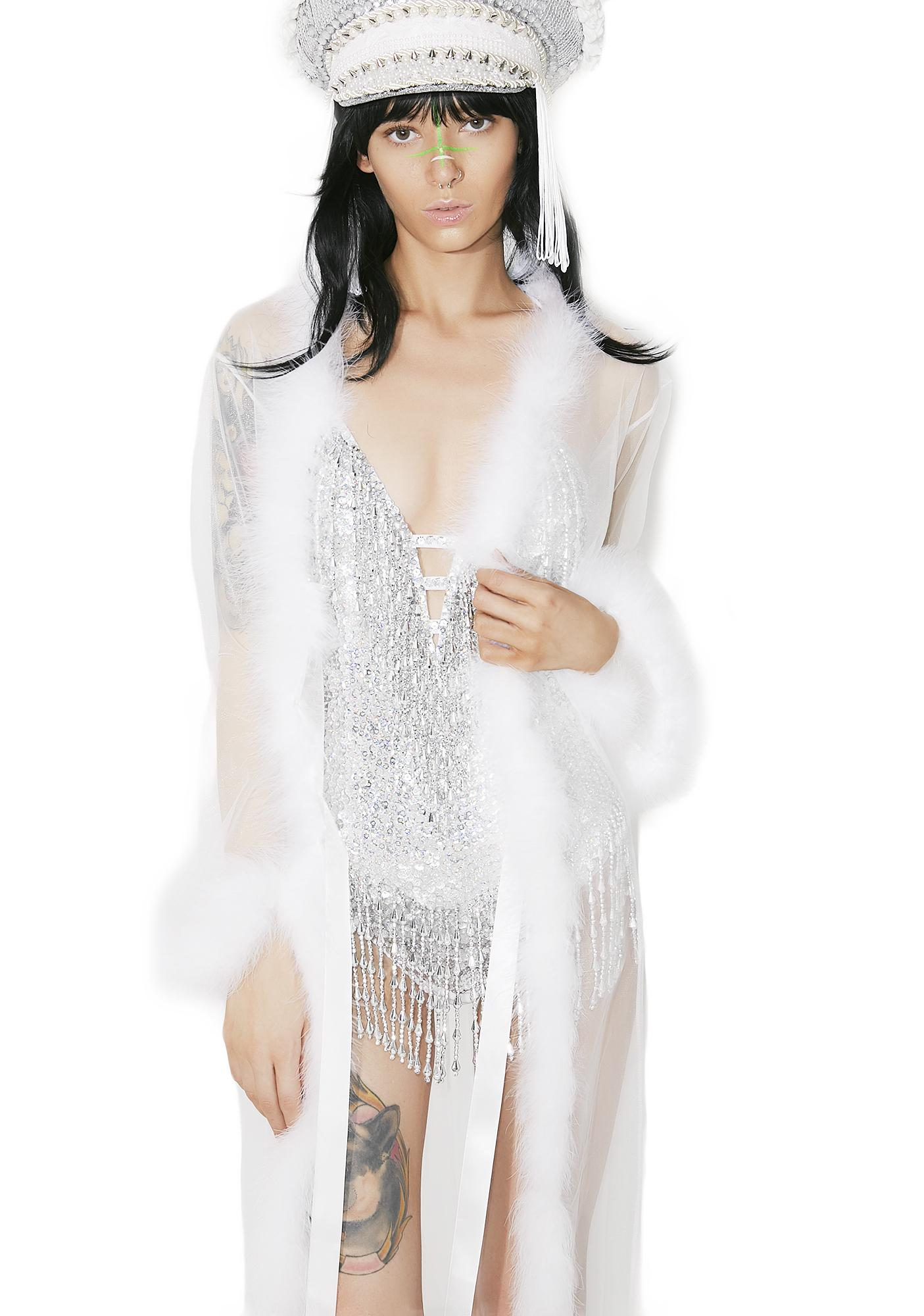 Heavenly Bardot Sheer Feather Robe