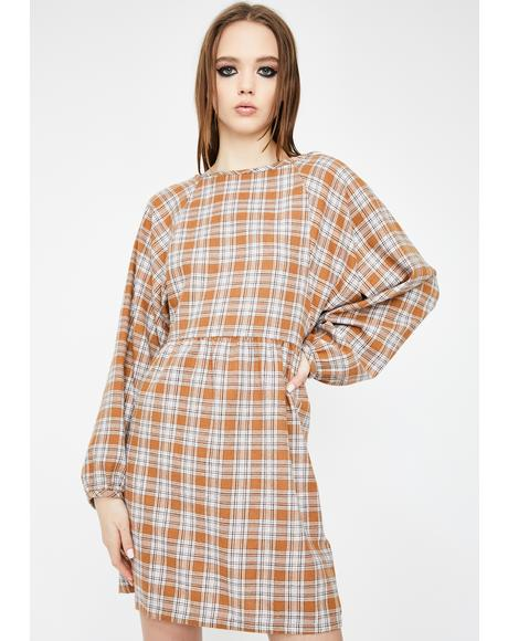 Check Print Tie Back Smock Dress