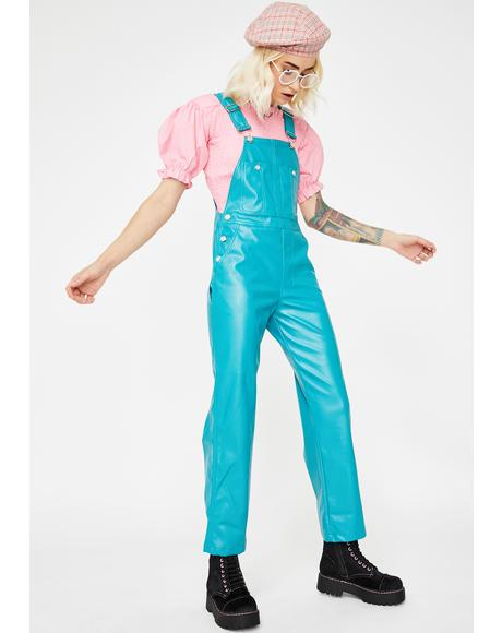 Fake Leather All In One Overalls