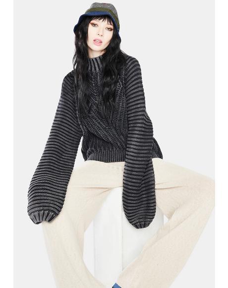 Black Sweetheart Knit Sweater