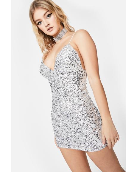 Chrome Glitter Galore Sequin Dress