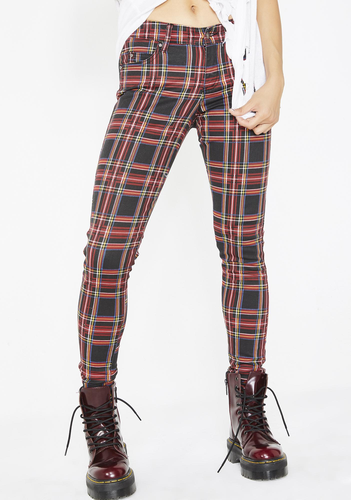 45be9eb9737 Tripp NYC Plaid T-Back Skinny Jeans