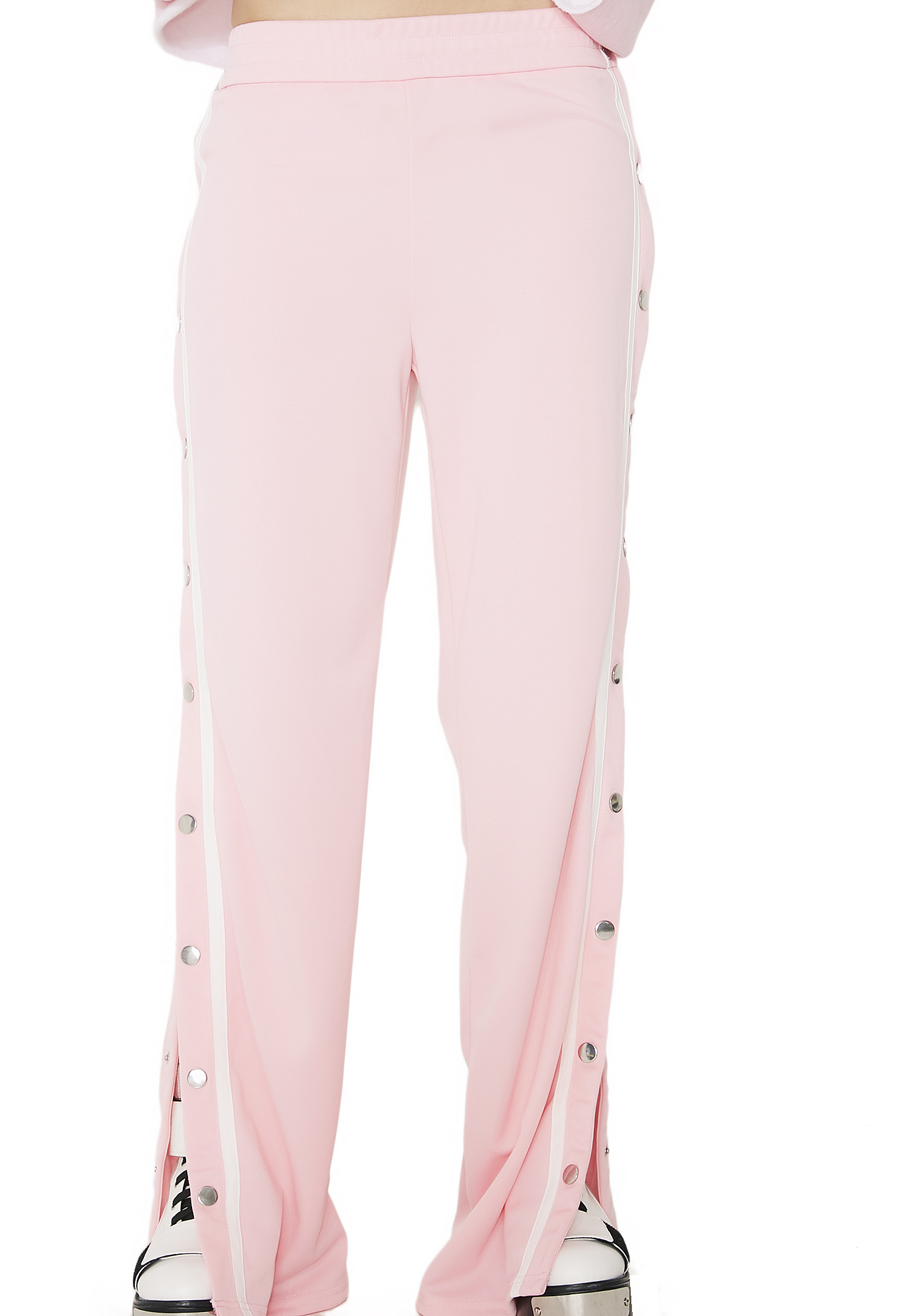 Snap Button Pink Track Pants