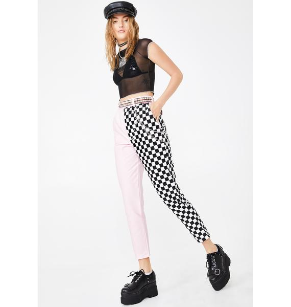 LOVE TOO TRUE Candy Checkerboard Clash It Trousers