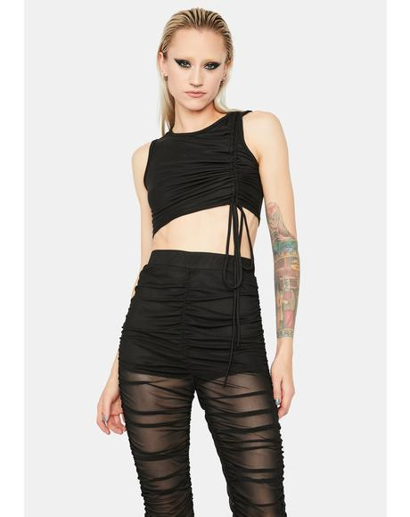 Going Viral Ruched Mesh Pants