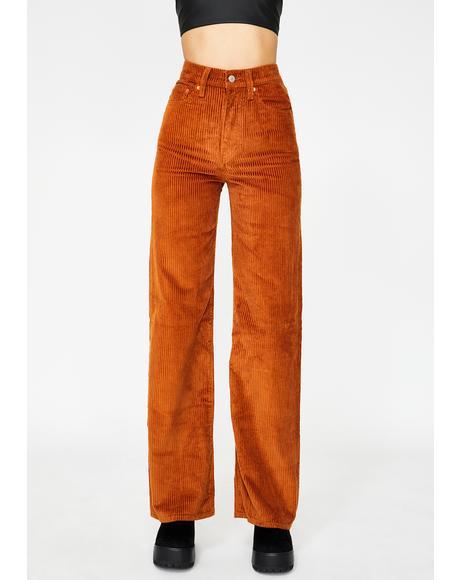 Caramel Ribcage Wide Leg Corduroy Pants