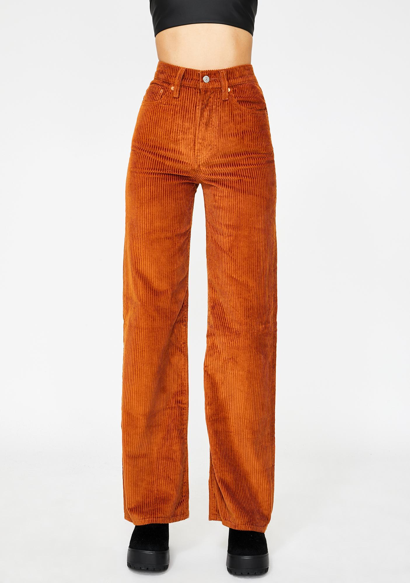 Levis Caramel Ribcage Wide Leg Corduroy Pants