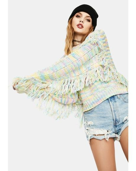 Blushful Love Fringe Sweater
