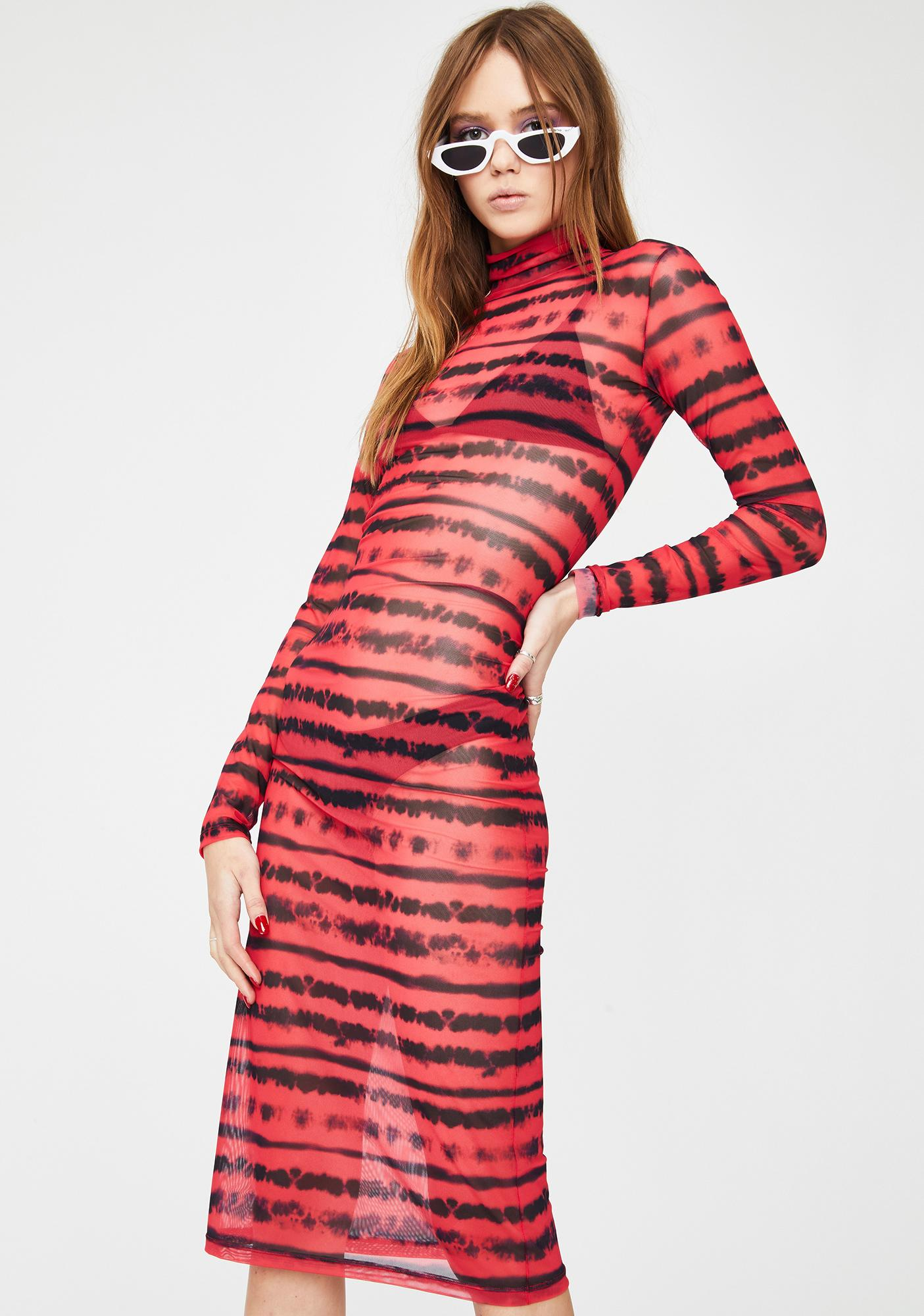 Kiki Riki Gimme A Beat Mesh Midi Dress