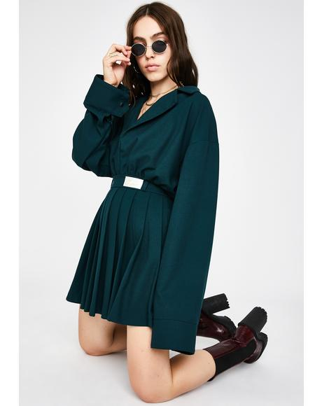 V Neck Pleated Shirt Dress