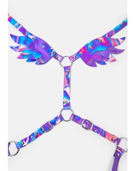 Purple Iridescent Harness With Wings