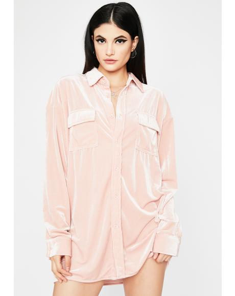 Blush Morning Call Velvet Shirt Dress