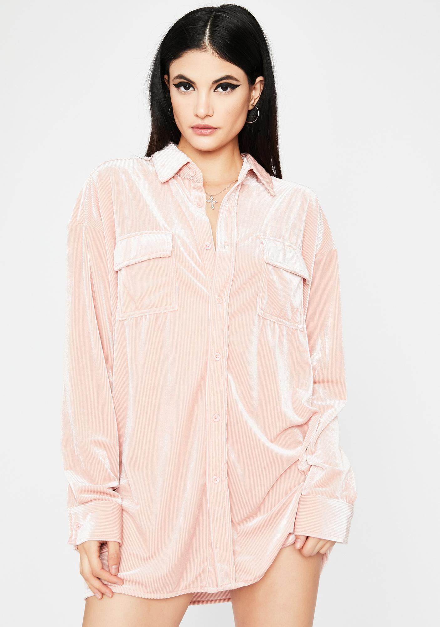 Blush Morning Call Velvet Shirt Dress