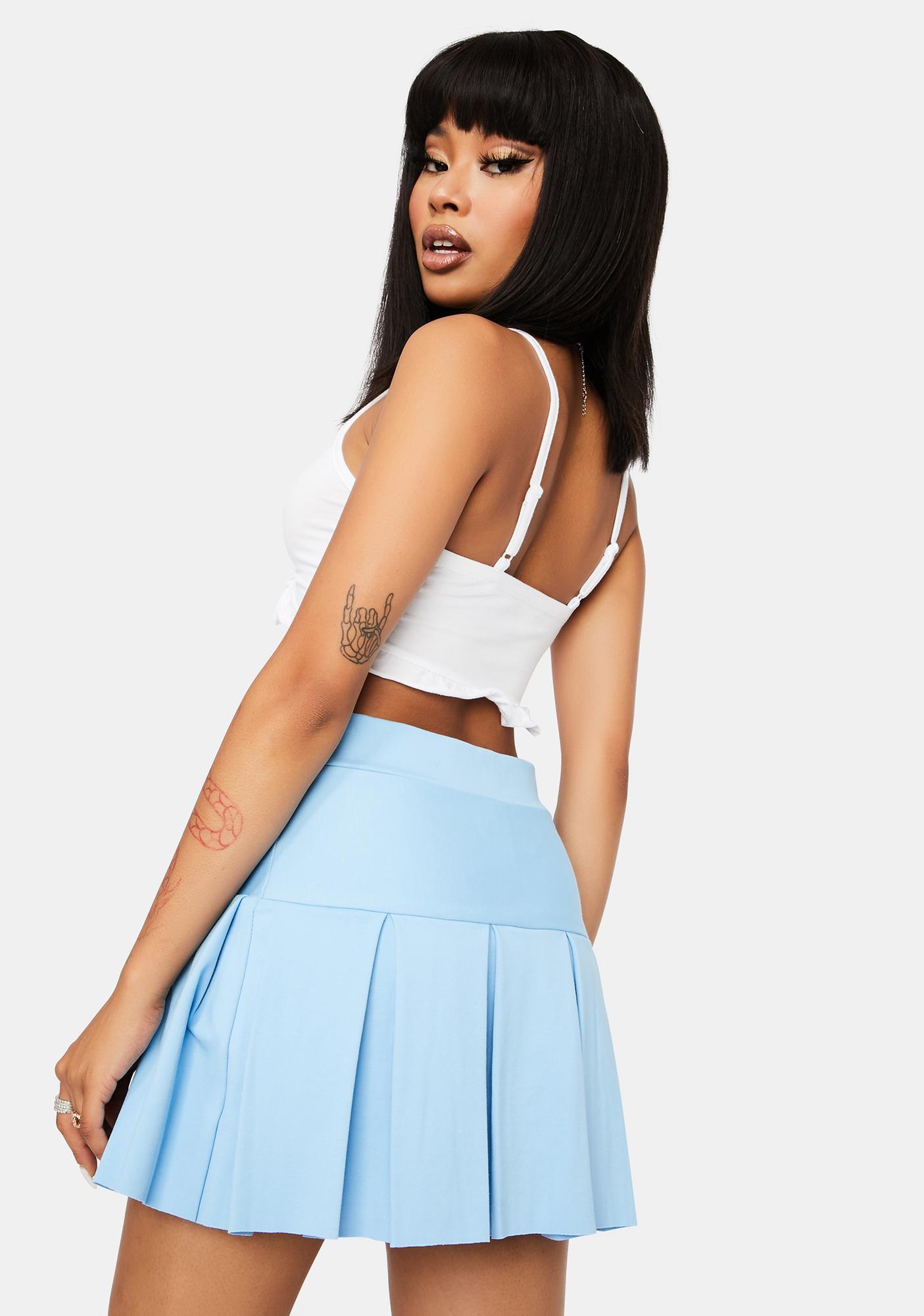 Aqua Modern School Girl Pleated Skirt
