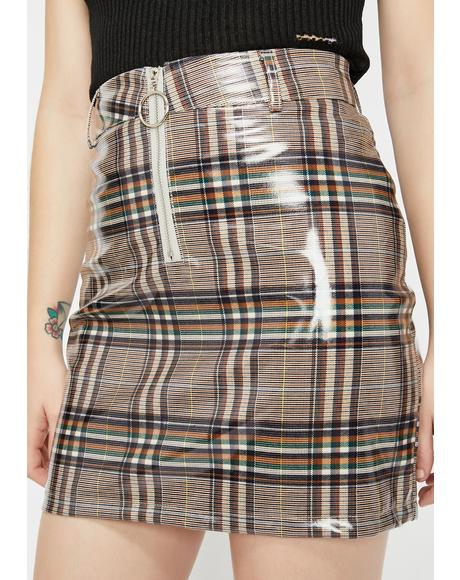 Glossy Gal Plaid Skirt