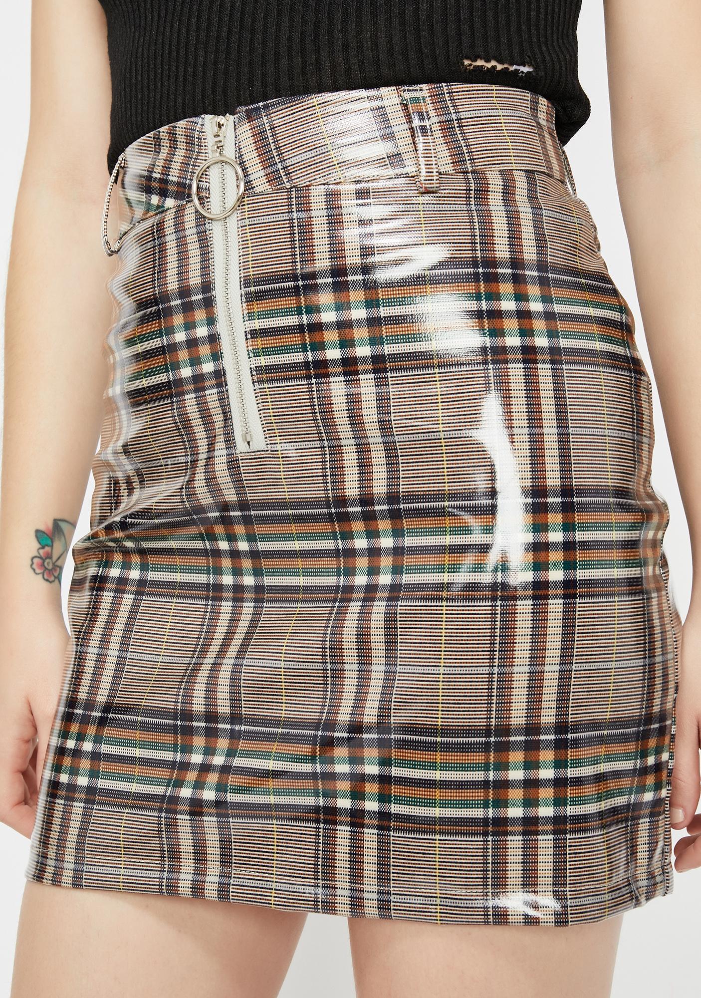 Glossy Gal Plaid Skirt