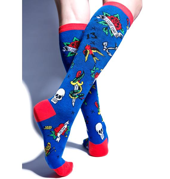 Loungefly Floral Knee Socks
