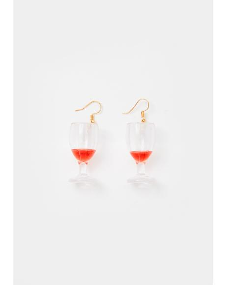Wine O'Clock Drop Earrings