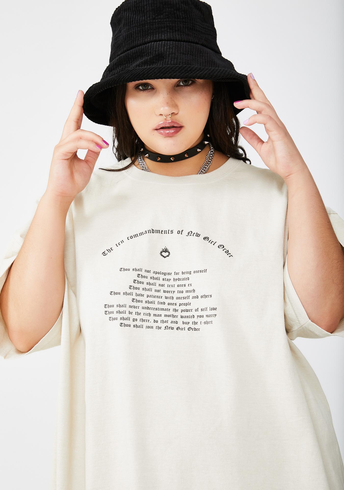 NEW GIRL ORDER Plus Commandments Graphic Tee