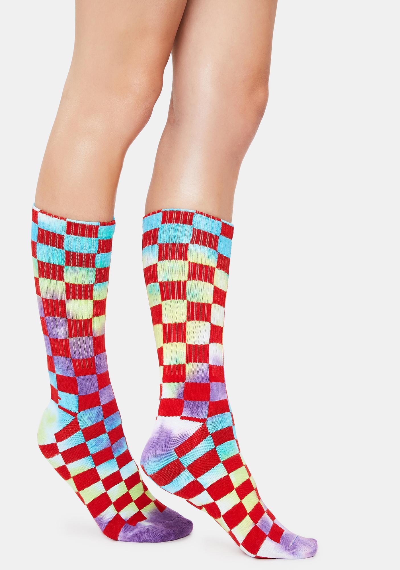 Cherry Your Move Checkered Crew Socks