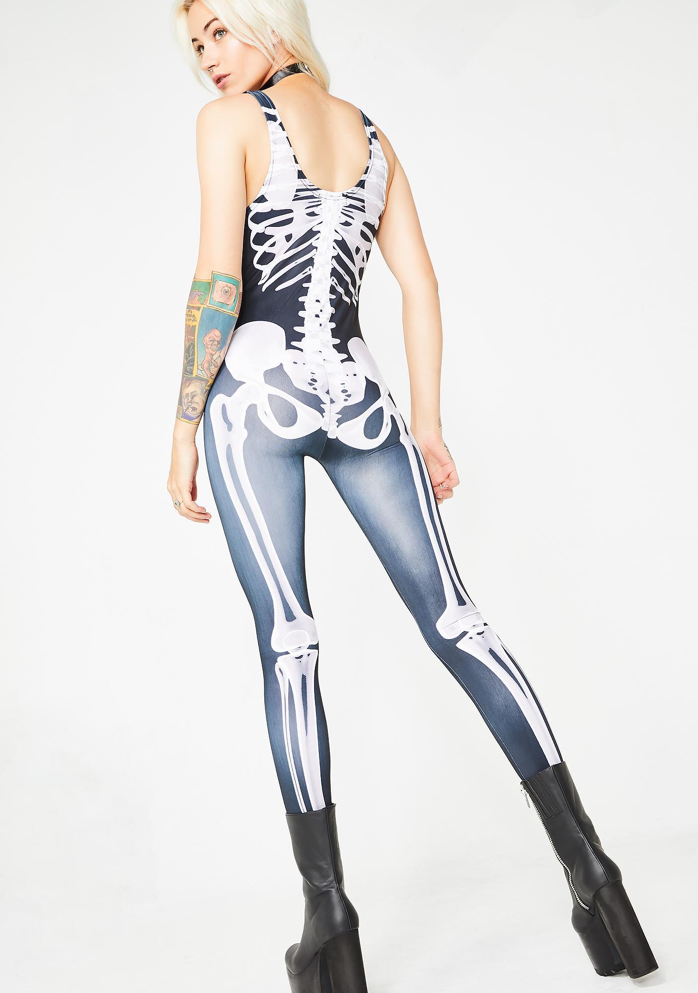 Dolls Kill Anatomy Of A Baddie Skeleton Catsuit