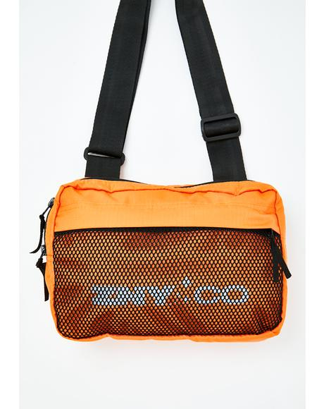 Neon Orange Mesh Shoulder Bag