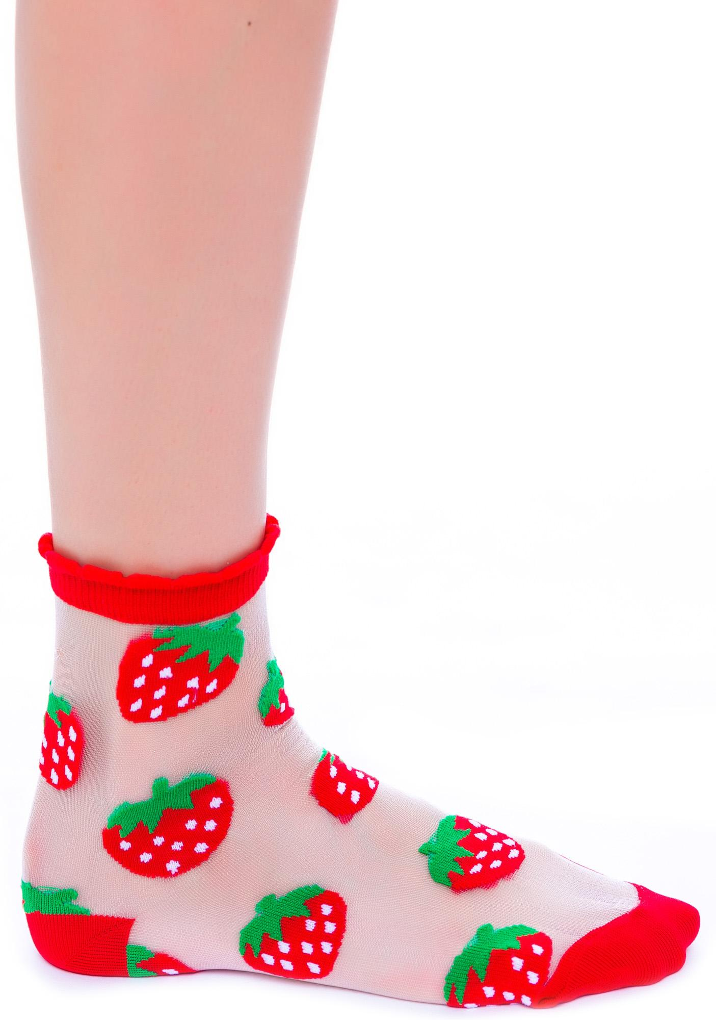 Strawberriws N' Cream See Thru Sock