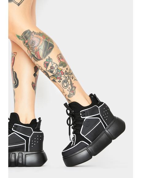 Black Cranberry Platform Sneakers