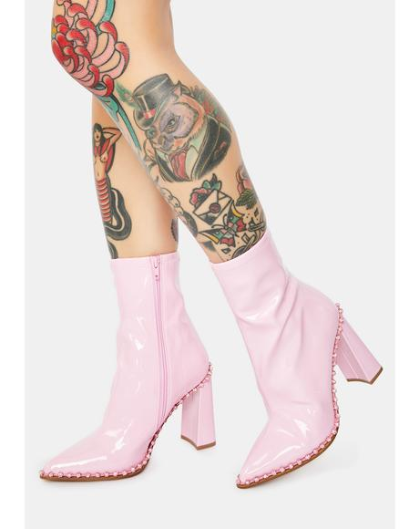Pink Edita Rhinestone Patent Booties