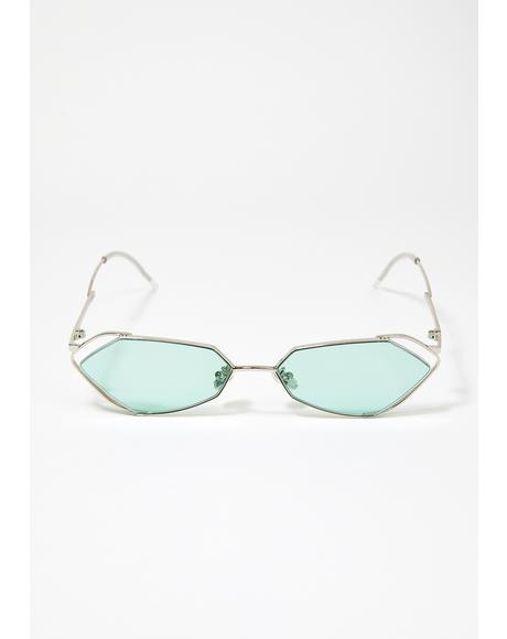 Fever Silver With Mint Lens Sunglasses
