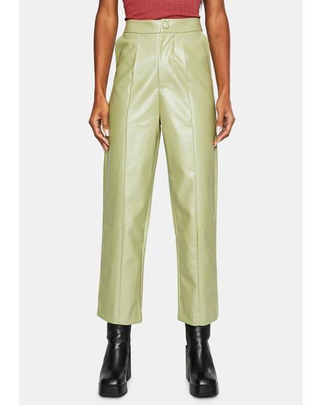 Vegan Leather Straight Leg Trousers
