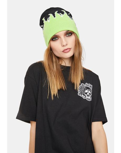 Lime Hothead Knit Beanie