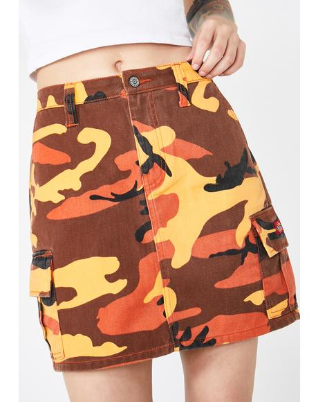 Slash Pocket Camo Cargo Skirt