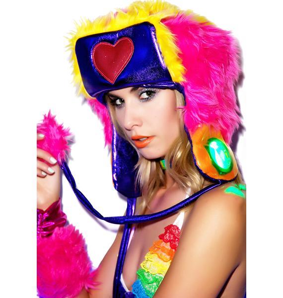 J Valentine Happy Heart Faux Fur Hat