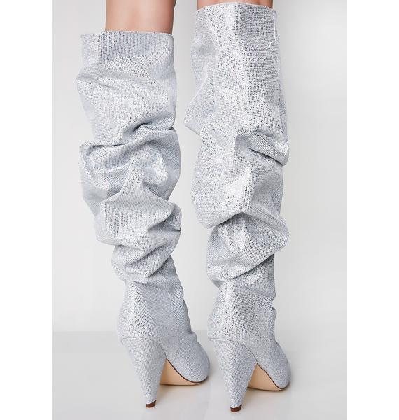 Platinum Stay Shinin' Scrunch Boots